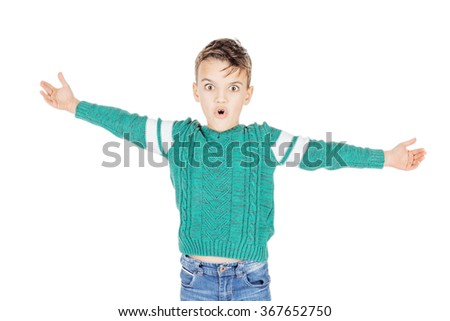 Portrait adorable young happy boy showing a size on white background. - stock photo