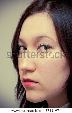 Portrait af a cute, pretty young woman - stock photo