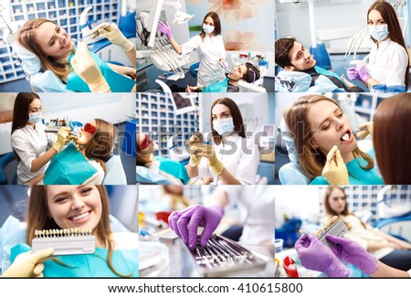 Portrait and collage photo of a surgeon at work.Orthodontic Treatment. Dental care Concept. Dental inspection is being given to Beautiful Woman surrounded by dentist and his assistant. - stock photo