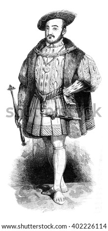 Portrait and costume Henry VIII on his accession to the throne, vintage engraved illustration. Colorful History of England, 1837. - stock photo
