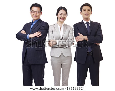 portrait  asian business team, isolated on white. - stock photo