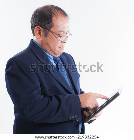 Portrait asian businessman people concept isolated with white background