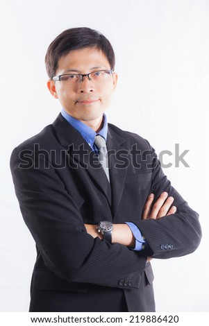 Portrait asian businessman people concept isolated with white background  - stock photo