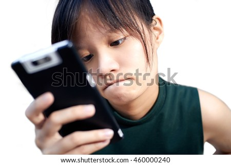 Portrait asian women play a social network on white background