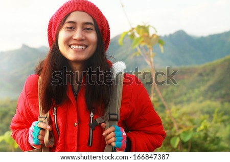 Portrait asian young woman hiking/backpacker