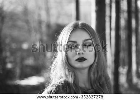 portrait attractive girl - stock photo