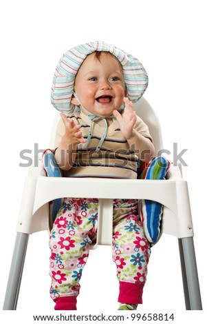 Portrait Baby Boy in Hat. Isolated with clipping path. - stock photo