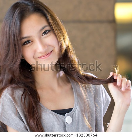 Portrait beautiful Asian Girl in studio