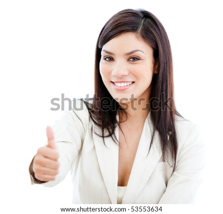 Portrait beautiful businesswoman doing a thumb-up against a white background