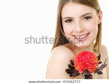 Portrait Beautiful girl with red flower