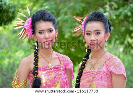 portrait beautiful of Thai women - stock photo