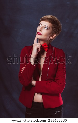 portrait beautiful sexy girl woman in a suit with a bow tie shoes success thoughtful look smile - stock photo