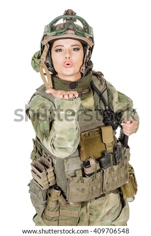 Portrait beautiful soldier or private military contractor sending an air kiss, army, weapon, technology and people concept. Image on a white background. - stock photo