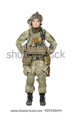 Portrait beautiful soldier or private military contractor. war, army, weapon, technology and people concept. Image on a white background.