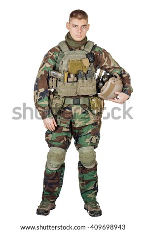 Portrait beautiful soldier or private military contractor with rifle. war, army, weapon, technology and people concept. Image on a white background.