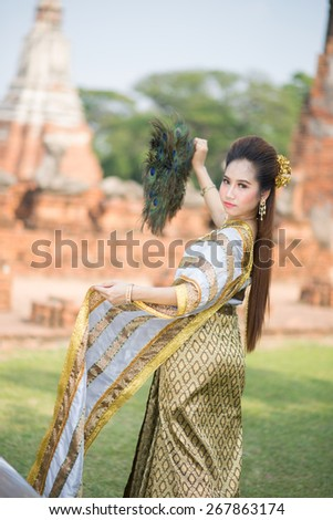 Portrait beautiful thai women in Temple Thailand