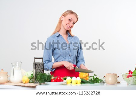 portrait beautiful woman cooking vegetables, healthy lifestyle