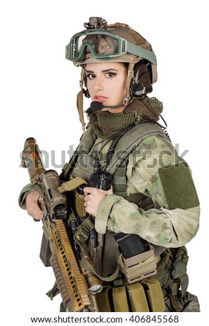 Portrait beautiful woman soldier or private military contractor with rifle. war, army, weapon, technology and people concept. Image on a white background.