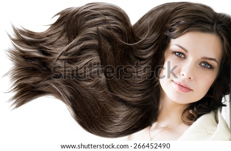 portrait beautiful young woman brunette with healthy long shiny  - stock photo
