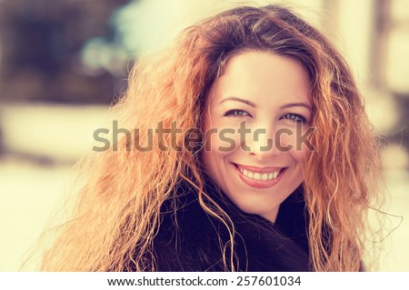Portrait Beautiful Young Woman Outdoors. Retro Instagram style warm filter picture  - stock photo