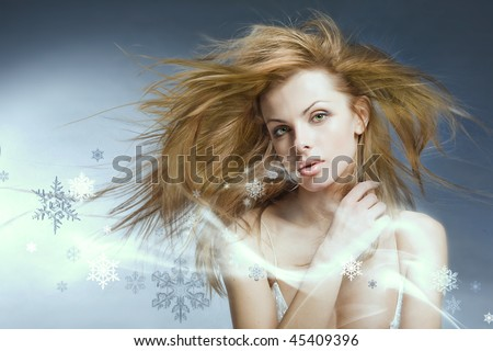 Portrait beautiful young woman with Snowflakes - stock photo