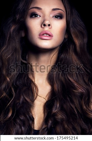 Portrait.Beauty.Full  lips. Brunette girl. Wavy hair.Long-haired - stock photo