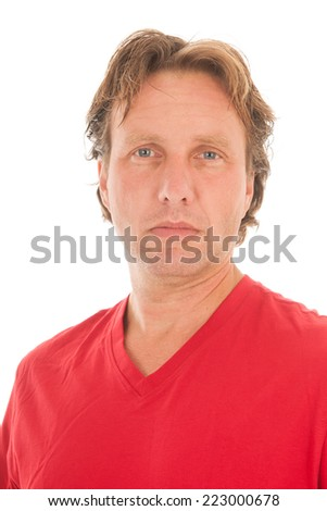 Portrait blond adult man with red shirt isolated over white background