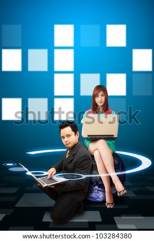 Portrait Business man and woman on digital background : Elements of this image furnished by NASA