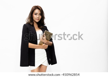 Portrait business woman holding tablet. young  Asian woman professional isolated on white background. - stock photo