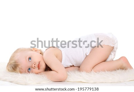Portrait calm cute dreaming child - stock photo