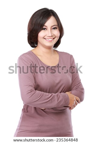 portrait casual middle aged woman cross her arms - stock photo