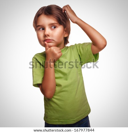 Portrait child to think idea of �¢??�¢??problem look toward confused brunette child scratching his head thinking isolated on white background gray - stock photo