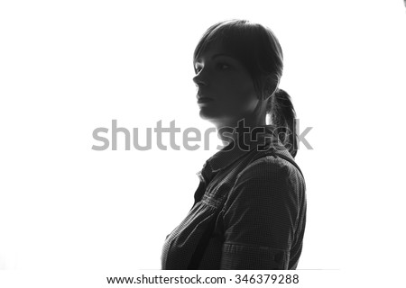 Portrait close up of young beautiful woman indoor - stock photo