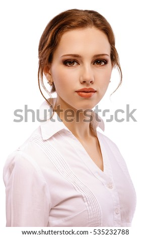Portrait close up of young woman, isolated on white background.