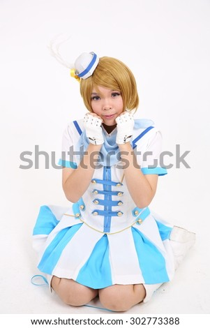 Portrait Cosplay dancing girl isolated in white background