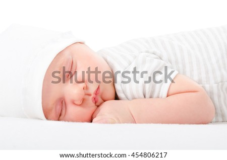 Portrait cute newborn sleeping baby isolated on white background