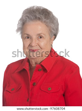 Portrait elderly woman shot against white background. - stock photo