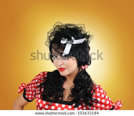 Portrait elegant young pin-up style woman - stock photo