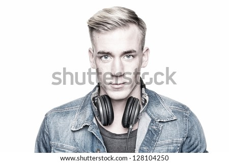 Portrait from a young dj - stock photo