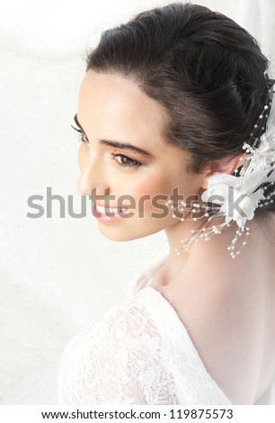 Portrait from above of a beautiful bride