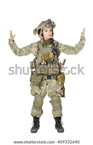 Portrait full length of female soldier showing size. war, army, weapon, technology and people concept. Image on a white background. - stock photo
