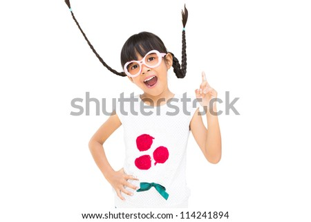 Portrait funny asian little girl with pigtail hair, Isolated on white - stock photo