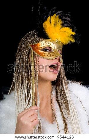 Portrait  girl with mask on black background