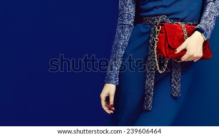 Portrait Glamorous Lady. Fashion accessories. Watches and red clutch on blue background - stock photo