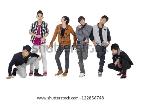 Portrait group of teenage models isolated on white background - stock photo