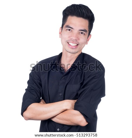 Portrait Handsome young asian man wearing a black shirt  smiling isolated on white background. Businessman concept.