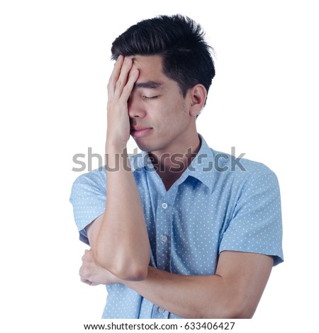 Portrait Handsome young asian man wearing a blue shirt stressed isolated on white background. Businessman concept. Asia people.