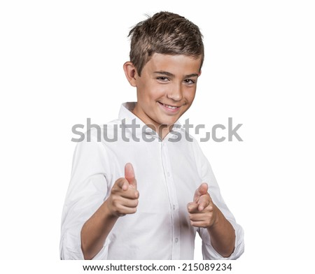Portrait handsome young smiling man giving two thumbs up, pointing with fingers at camera, picking you as friend isolated white background. Positive human emotion facial expression sign body language - stock photo