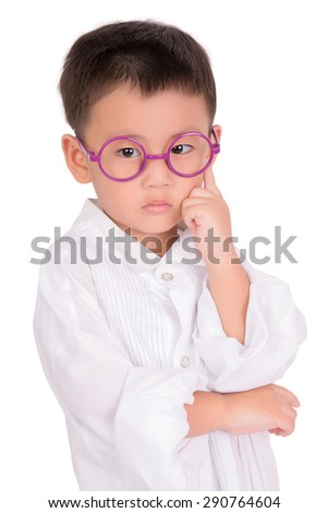 Portrait happy confident asian boy thinking daydreaming looking up isolated white background . Human face expressions, emotions, feelings, body language, perception - stock photo