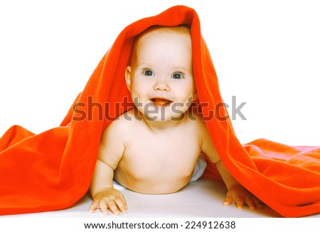 Portrait happy smiling baby and towel - stock photo
